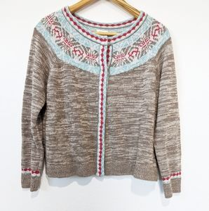 Sundance Nordic Style Fair Isle Button Up Sweater
